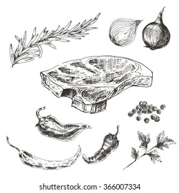 vector hand drawn steak set with vegetables in realistic vintage style. kitchen doodle