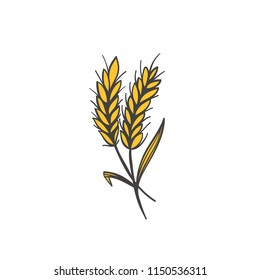 Vector hand drawn style logotype template with wheat. Easy to use business template.