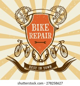 Vector hand drawn stylish vintage bicycle frame on old grunge background. Editable objects.Bike repair logo