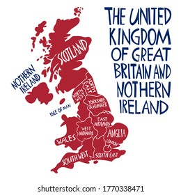 Vector hand drawn stylized map of the United Kingdom. Travel illustration of Great Britain regions. Hand drawn lettering illustration. Europe map element