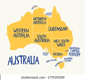 Vector hand drawn stylized map of Australia. Travel illustration of Commonwealth of Australia states. Hand drawn lettering illustration. South map element