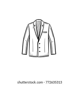 Vector hand drawn suit jacket outline doodle icon. Suit jacket sketch illustration for print, web, mobile and infographics isolated on white background.