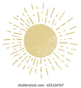 Vector hand drawn sun isolated on white background . Eps8. RGB. One global color