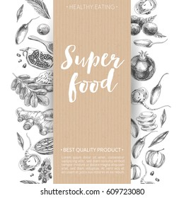 Vector hand drawn superfood Illustration. Sketch vintage style. Design template.