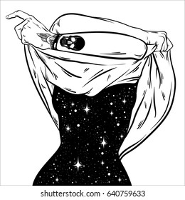 Vector hand drawn surreal  illustration  of undressing woman with space instead of body . Surreal tattoo artwork . Template for card, poster, banner, print for t-shirt.