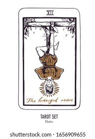 Vector hand drawn Tarot card deck.  Major arcana the Hanged man.  Engraved vintage style. Occult, spiritual and alchemy symbolism