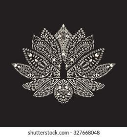 Vector Hand drawn tattoo element Henna Lotus Mehndi. Tattoo beautiful flower