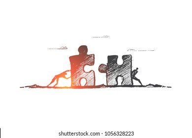 Vector hand drawn team concept sketch. Two men moving puzzle pieces towards each other to assemble it.