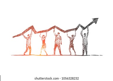Vector hand drawn teamwork concept sketch. Team of five people standing and holding indicator of growth and development in common business on raised hands.