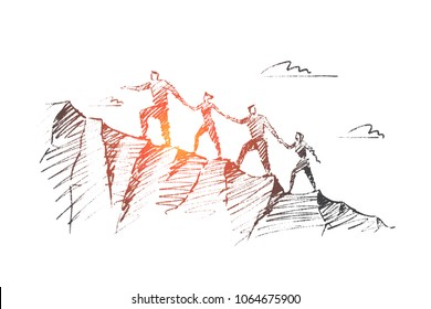 Vector hand drawn teamwork concept sketch. Bisiness people together trying to climb up mountain holding each others hands.