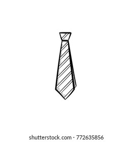 Vector hand drawn tie outline doodle icon. Tie sketch illustration for print, web, mobile and infographics isolated on white background.