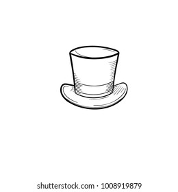 Vector hand drawn top hat outline doodle icon. Cylinder sketch illustration for print, web, mobile and infographics isolated on white background.
