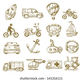 vector hand drawn transport icons set on white