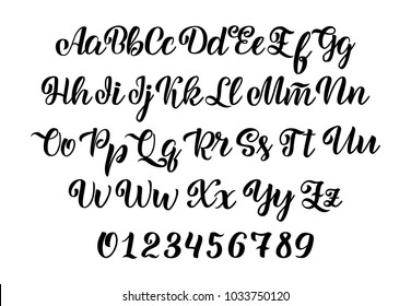Vector hand drawn typeface. Brush painted letters. Handwritten script alphabet isolated on white background. Handmade alphabet for your designs: logo, posters, invitations, cards, etc. Vector