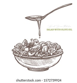 Vector hand drawn vegetables salad with spoon of olive oil. Greek cuisine. Helthy vegetarian food sketch illustration. Tomatos, greenery, cucumbers, paprika and olives in the bowl