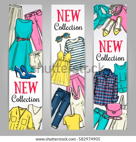 Summer Clothing Banners Black Outline Banners