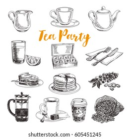 Vector hand drawn vintage coffe and tea party Illustrations. Retro sketch style set.