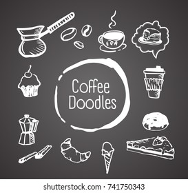 Vector hand drawn vintage coffee doodle Illustrations on gray background. Retro sketch style set.