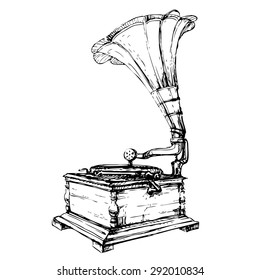 Vector hand drawn vintage gramophone. Ink black lines on white background. Device for music reproduction from long-playing record