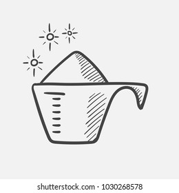 Vector hand drawn washing powder in a measuring cup outline doodle icon. Washing powder in a measuring cup sketch illustration for print, web, mobile and infographics isolated on white background.