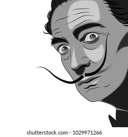 Vector hand drawn watercolor portrait with famous artist Salvador Dali.