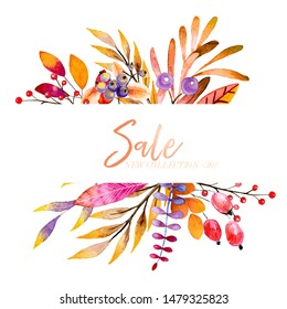 Vector hand drawn watercolor wreath of forest leaves, flowers, berries. Black friday discount. Autumn abstract branches. Mapple, orange, pumkin, guelder, dog rose. Season greeting, sale banner