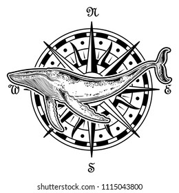 Vector hand drawn whale with compass. Cosmos, universe, occultism, sacral, galaxy, space silhouette of whale. Perfect for textile, t-shirt, cards and etc