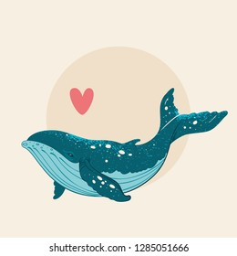 Vector hand drawn whale with splash texture. Grange whale illustration. Sketch. Tattoo art, graphic, t-shirt design, poster design, invitations, greeting cards, posters.