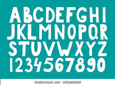 Vector hand drawn white bold font. Handwritten alphabet, abc capital letters and numbers set isolated on green background. Hand made typography for posters, invitations, cards design.Marker lettering.