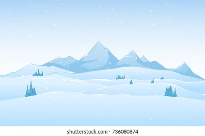 Vector hand drawn winter mountains landscape.