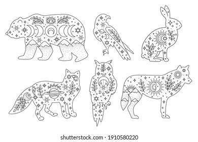 Vector hand drawn woodland animals with boho elements for decoration. Bohemian clipart. Bear, fox, rabbit, wolf, owl, falcon, branch, moon, sun