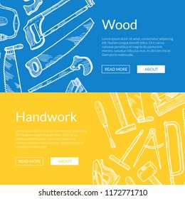 Vector hand drawn woodwork elements web banner poster templates illustration