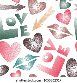 Vector hand drawn word love, lips and hearts. Abstract romantic Vector illustration. Seamless pattern with stylized love elements in pink, green and white colors.