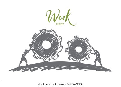 Vector hand drawn work concept sketch with people pulling huge cogwheels towards each other with lettering