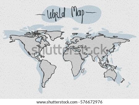 Vector Hand Drawn World Map Stock Vector (Royalty Free) 576672976 ...