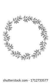 Vector hand drawn wreath. Floral design elements for invitations, greeting cards, blogs posters