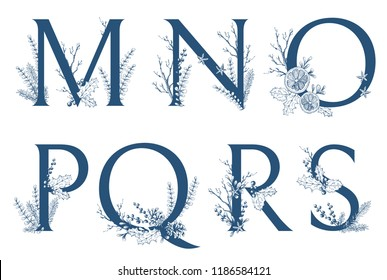 Vector Hand Drawn Xmas letters monograms or logo. Uppercase M, N, O, P, Q, R, S with Christmas winter herbal decorations. Natural sketchy style.