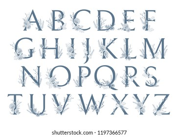 Vector Hand Drawn Xmas letters monograms or logo. Uppercase  ABC with Christmas winter herbal decorations. Natural sketchy style.