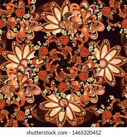 Vector Hand drawn zentangle floral orange, black and brown colors. Orange, black and brown pattern. Seamless pattern ethnic mandalas, doodle background circles.