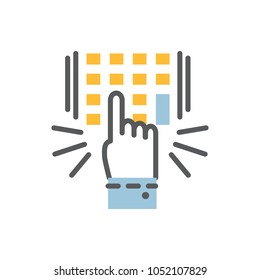 Vector Hand finger entering pin code solid icon , unlock and password over white flat and outline illustration