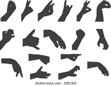 Vector hand gesture silhouettes - change color and size easily. 2/2