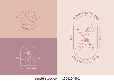 Vector hand gestures set of logo design templates in minimal linear style. Planet, moon, stars. Pastel colors.
