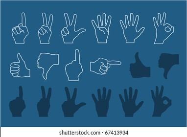 vector hand gestures (signs) set numbers and signs for rating (high detailed - realistic)