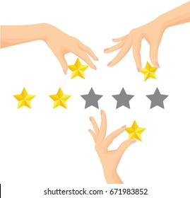 Vector of Hand giving five star rating