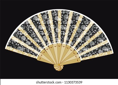 Vector hand held folding vintage fan with white laces, floral motifs, on wooden details