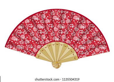 Vector hand held folding vintage red fan with white laces, floral motifs, on wooden details isolated on white background