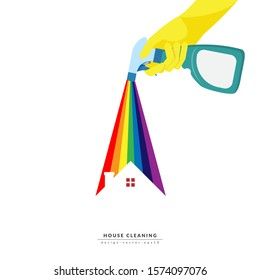 vector of hand holding cleaning spray plastic bottle detergent spraying colorful rainbow over roof of house isolated on white background. home cleaning service business banner template