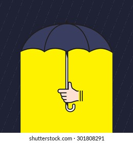 Vector : hand holding umbrella under rain with yellow light under umbrella, Creative in bad situation concept