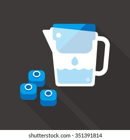 vector hand holding water filter jug with filter cartridge / water drop / purification concept icon, symbol / blue on dark grey