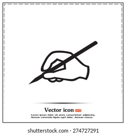 Vector hand icon with a pencil